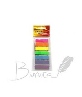 Plastikiniai lipnūs lapeliai- indeksai PENWORD 12 x 45, 7 spalvos po 25 lapelius