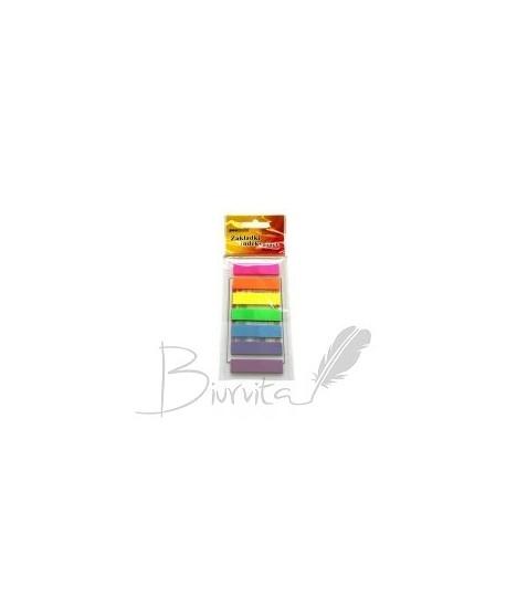 Plastikiniai lipnūs lapeliai-indeksai PENWORD 12 x 45, 7 spalvos po 25 lapelius