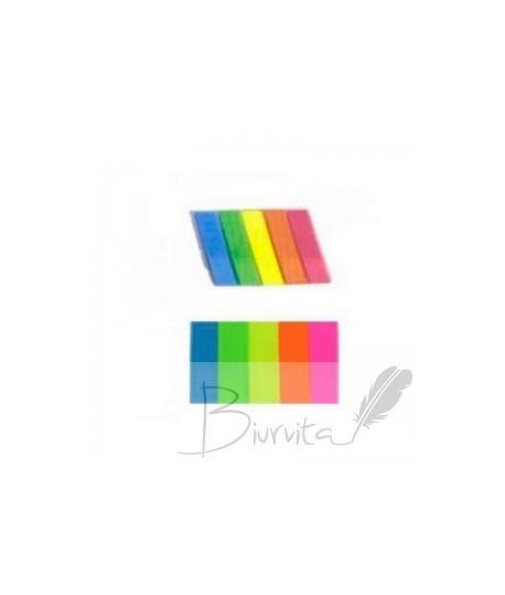 Lipnūs plastikiniai žymekliai PRONOTI 5 spalvos po 20 lapelių
