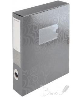 Dėklas - dėžutė dokumentams PANTA PLAST, A4, PP, sidabrinės spalvos