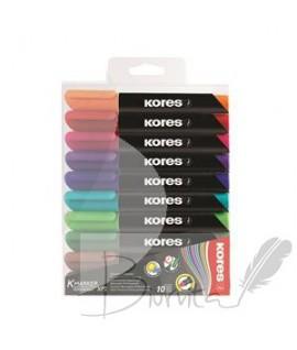Permanentiniai žymekliai KORES XP2, apvali galvutė, 10 spalvų