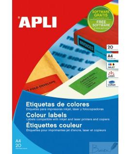 Etiketiniai lipdukai APLI, 99,1 x 67,7 mm, A4, 8 lipd.20 lapų, geltona