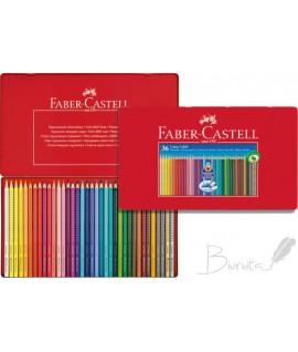 Spalvoti pieštukai Faber Castell Grip 2001, 36 spalvos metalinėje dėžutėje