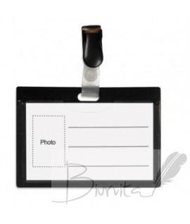 Vardinės kortelės dėklas su spaustuku, 54 x 90 mm,juodos spalvos