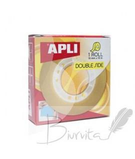 Dvipusė lipni juostelė APLI, 15 mm x 10 m, Skaidri