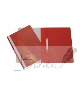 Segtuvėlis plastikinis skaidriu viršeliu COLLEGE, A4,su įsegėle, raudonas