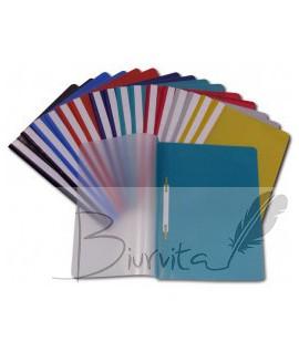Segtuvėlis plastikinis skaidriu viršeliu COLLEGE, A4,su įsegėle, šv. mėlynas