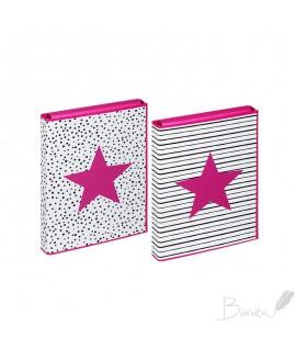 Dėžutė- dėklas dokumentams, sąsiuviniams PAGNA Pink Star, A4, su kibiu užsegimu