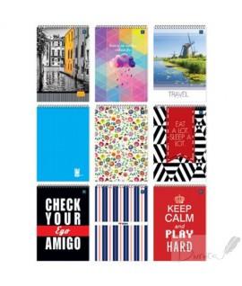 Bloknotas RAINBOW INTERDRUK, A4,100 lapų, su spirale, langeliais