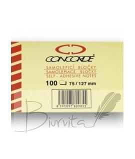 Lipnūs lapeliai CONCORDE 75 x 75 mm, 100lapelių, geltoni