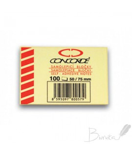 Lipnūs lapeliai CONCORDE 50 x 75 mm, 100 lapelių, geltoni