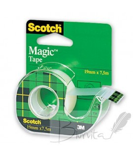 Lipni juosta SCOTCH Magic Invisible su laikikliu, 19 mm x 7,5 m