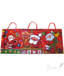 Krepšelis dovanoms kalėdinis, 22 x 18 x 7 cm, plastikinis