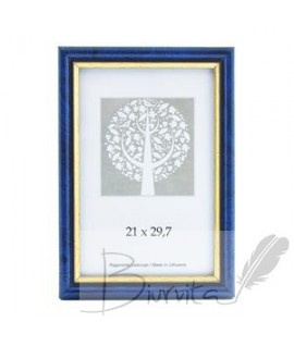 Rėmelis SAVEX Eco, plastikinis, A4, 21 x 29,7 cm, mėlyna sp. su auksine juostele