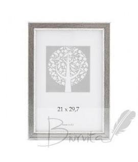 Rėmelis SAVEX Aura, plastikinis, A4, 21 x 29,7 cm, sendintas, sidabrinė sp.