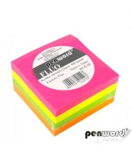 Lipnūs lapeliai PENWORD FLUO, kubas 76x76mm, 400 lapelių, 4 spalvos