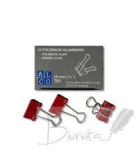 Spaustukai ALCO 19mm,12 vnt. raudona sp.
