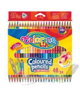 Spalvoti pieštukai, tribriauniai, dvipusiai COLORINO KIDS 24vnt/48 sp.