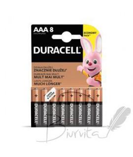 Baterijos DURACELL šarminės AAA 8 vnt.
