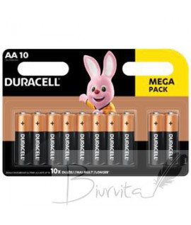 Baterijos DURACELL AA 10vnt.