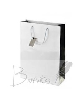 Dovanų maišelis 312 x 235 x 85 , balta/juoda