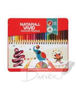 Spalvoti pieštukai NATARAJ VIVID ,tribriauniai, 26 spalvos
