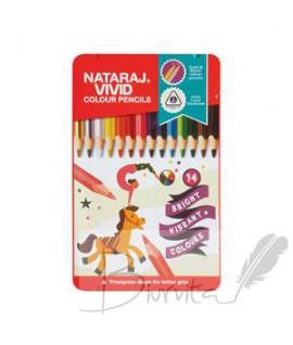 Spalvoti pieštukai NATARAJ VIVID ,tribriauniai, 14 spalvų