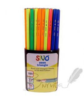 Pieštukas SiVO NEON HB, tribriaunis, korpusai įv. spalvų