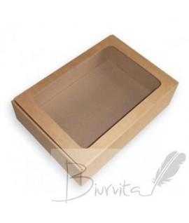 Dovanų dėžutė su langeliu 305 x 215 x 80 mm, ruda