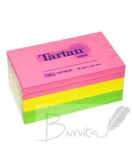 Lipnūs lapeliai TARTAN 76 x 127mm, neoninės spalvos, 6 vnt po 100 lapelių