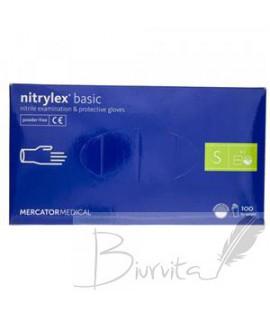 Vienkartinės pirštinės NITRYLEX Basic, nitrilinės, nepudruotos, mėlynos spalvos, XL, 100 vnt.