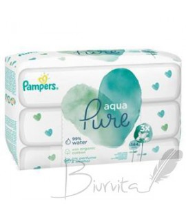 Servetėlės PAMPERS Aqua Pure, 3x48 vnt.