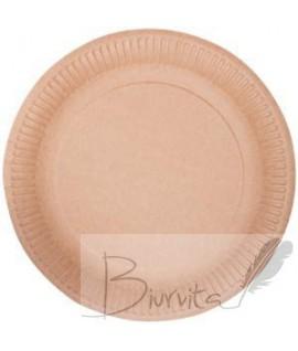 Vienkartinė lėkštė ABCPAK, popierinė, ruda, 15 cm, 100 vnt