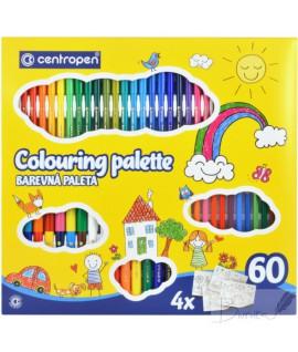 Rinkinys 60vnt. spalvinimui: flomasteriai + spalvoti pieštukai Centropen
