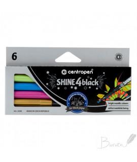 Flomasteriai 6sp.CENTROPEN 2590/6 Shine4Black, tinka juodam popieriui, metalizuoti