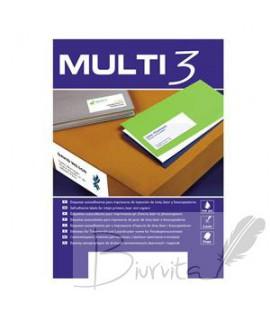 Lipnios etiketės MULTI-3, 70 x 37 mm, A4, 100 lapų, 24 vnt.lape balta