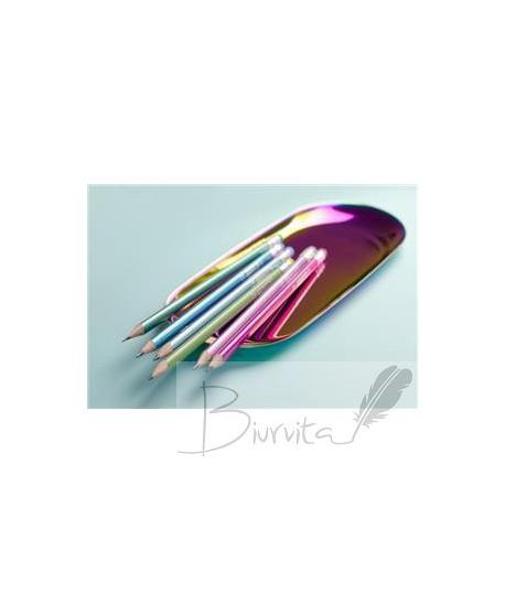 Grafitinių pieštukų rinkinys KORES GRAFITOS STYLE su trintuku, tribriauniai, HB, 6 metalizuotos spalvos