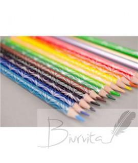 Spalvoti pieštukai KORES KOLORES STYLE, tribriauniai, 3mm, 15 spalvų (2 metalizuotos spalvos ir 1 neoninė)